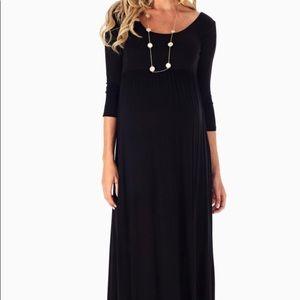 Pinkblush maternity black maxi 3/4 sleeves